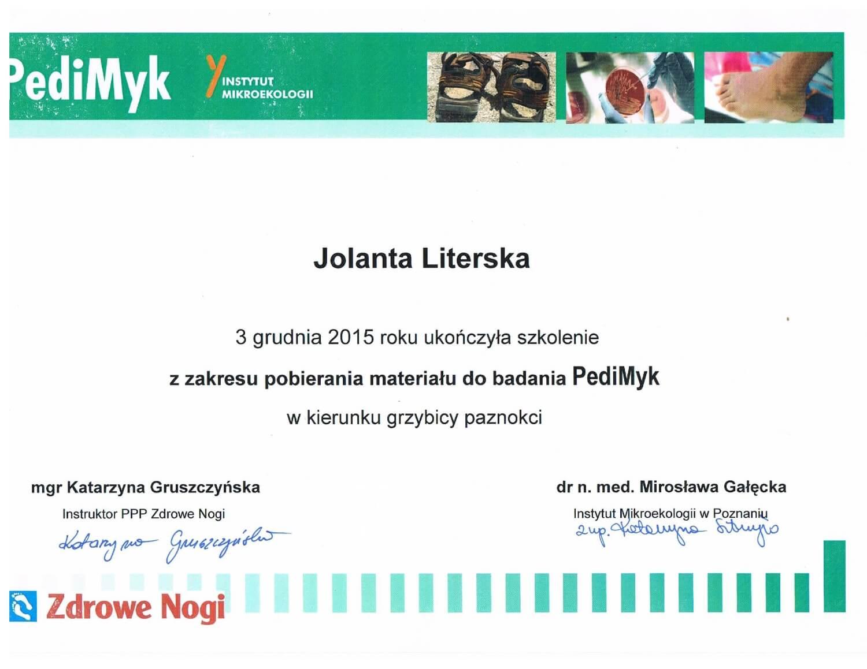 Certyfikat Jolanta Literska