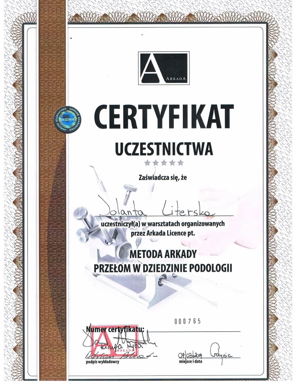 Certyfikat uczestnictwa Podolog Literskiej w warsztatach z metody Arkady