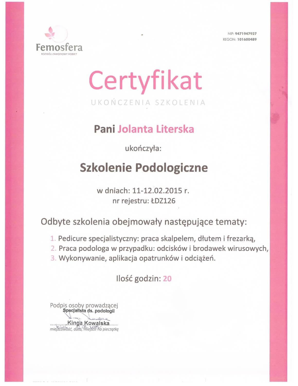 Certyfikat dla Jolanty Literskiej za ukoszenie szkolenia podologicznego