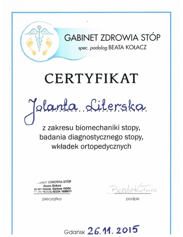 Certyfikat ukończenia szkolenia z biomechaniki stopy, badania diagnostycznego stopy oraz wkładek ortopedycznych