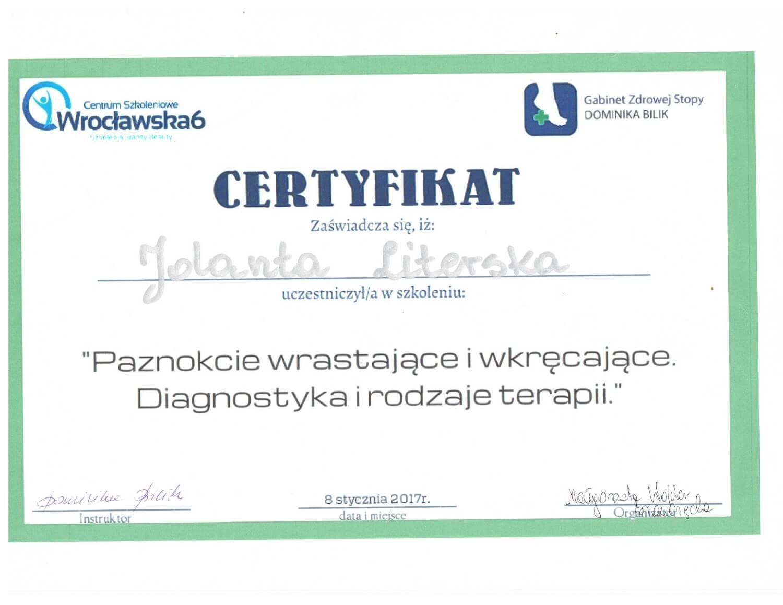 Certyfikat potwierdzający zdobycie wiedzy przez Jolantę Literską z zakresu diagnostyki i rodzajów terapii w podologii