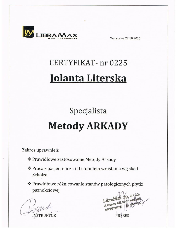 Certyfikat potwierdzający, że Jolanta Literska została specjalistą Metody Arkady
