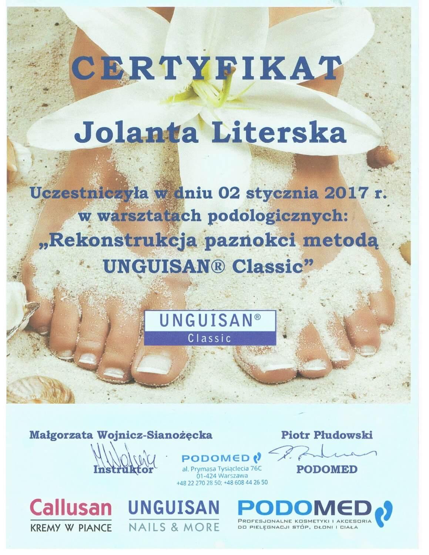 Certyfikat po szkoleniu Rekonstrukcja paznokci