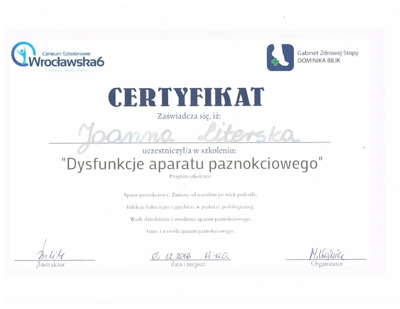 certyfikat Podologa Joanny Literskiej