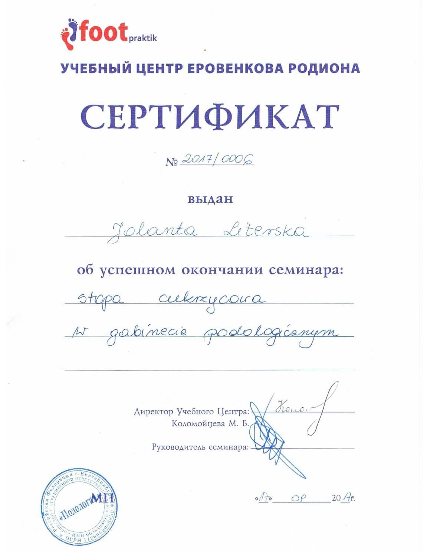 Certyfikat Podolog Gdynia