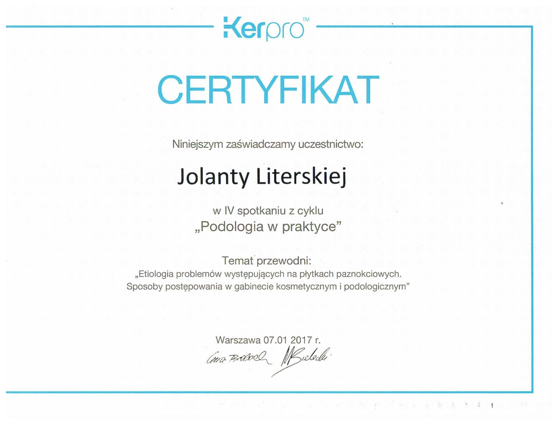 Certyfikat uczestnictwa w spotkaniu z cyklu Podologia w praktyce